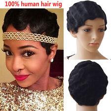 European Women's Short Wigs 100% Remy Human Hair Body Wavy Mommy Full Wig UK #MB