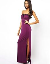 Stunning Lipsy Maxi Evening Diamonte Size 8 Long Dress VIP Party Wedding Purple
