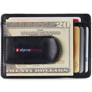 Alpine Swiss Mens RFID Safe Money Clip Wallet Minimalist ID Window Card Case FPW