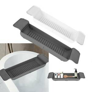 Extendable Bath Tray Plastic Bathtub Shelf Wine Soap Holder Rack brand new UK