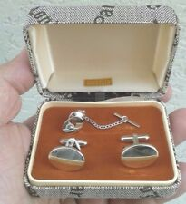 Cufflinks and pin sterling set oval classic