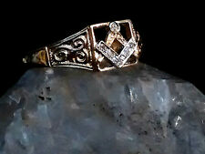 Masonic Solid Gold & Diamonds Master Mason  Square & Compasses Ring UK SizeV/W