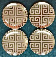 "Vintage NOS Set 4 Plates 6"" Jet Setter Rosanna Mid Century Modern Greek Key TPD"