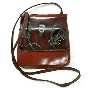 Vintage Jacobsons Italy Leather Purse Shoulder Crossbody Bag Purse Stop Watch