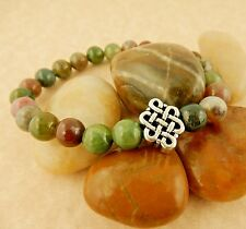 Silver Celtic Knot bead, Chakra Men's Stretch Agate gemstone Bracelet with