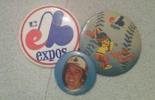 3 vintage pin badge, 2 Expo, 1 Gary Carter