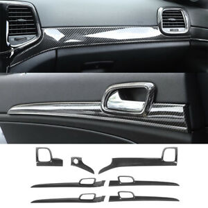 7×Carbon Fiber Dashboard Panel+Door Handle Trim For Jeep Grand Cherokee 2011+ABS