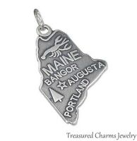 .925 Sterling Silver STATE OF MAINE CHARM Bangor Augusta Portland PENDANT
