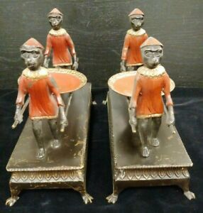 Vintage 2 Maitland Smith Bronze Monkeys Carrying a Dish or Trinket Tray on Poles