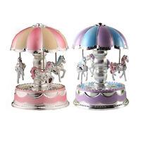 LED Light Merry-Go-Round Music Box Christmas Birthday Gift Toy Carousel H1