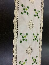 More details for vintage embroidered shamrock table runner with crochet edging ivory shade 66x11