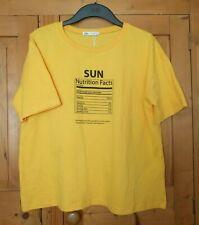 Ladies Yellow Cotton ZARA T Shirt Size Medium (12)