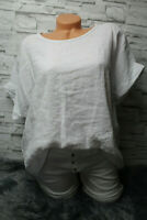 Italy T- Shirt Vintage Gr. 36 38 40 42 Blogger weiß Leinen Oversized NEU Top