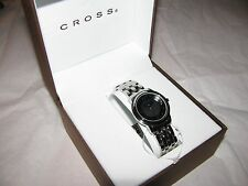 CROSS Industry Womans wrist watch NWT's Black Face Polished Chrome