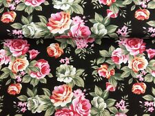Polycotton Fabric Black Pink Roses Floral Bunting Flower SOLD PER HALF METRE