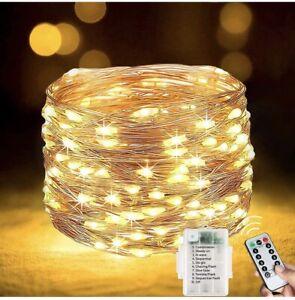 Lezonic [2 Pack] Fairy  String Lights Battery 120LEDs 13M 8 Modes (Warm White)