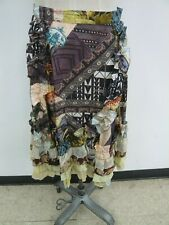 Christain Lacroix Tiered Ruffled Patchwork Print Boho 100% Silk Skirt Size 40/6