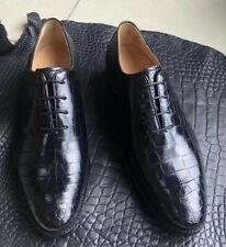 Men's Shoes Genuine Crocodile Alligator Skin Leather Handmade Black #SM1201