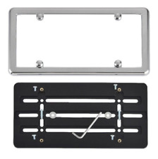 UNIVERSAL LICENSE PLATE TAG HOLDER MOUNT BUMPER BRACKET + CHROME FRAME CAR TRUCK