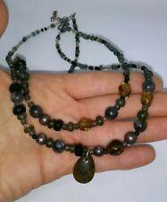 "Navajo Peyote Bird Sterling Silver Gemstone Beaded Necklace 18"""