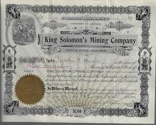 ARIZONA Territory 1900 King Solomon's Mining Company Stock Certificate #69 Ohio?