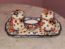 Genuine Polish Pottery Salt/Pepper/Toothpick/Tray Set! Happy Happy Pattern! MOD