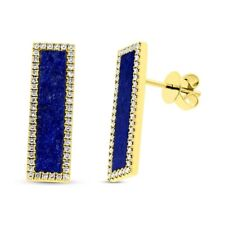 14K Yellow Gold Lapis Lazuli Diamond Bar Stud Earrings Rectangular Drop Pushback