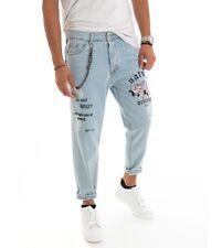 Pantalone Uomo Lungo Jeans Denim Chiaro Rotture Stampe Scritte Rosa Cavallo B...