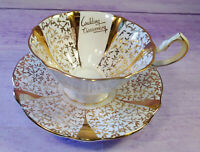 Gold Lace Queen Anne Bone China Teacup & Saucer Wedding Anniversary England Vtg