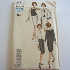 "FF VINTAGE 1960S SEWING PATTERN VOGUE 6081 LADIES DRESS SUIT BUST 32"" as new"