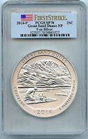2014-P Sand Dunes Park, 5oz Silver Quarter, PCGS SP-70 First Strike, Mint Box!
