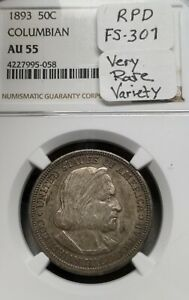 1893 Columbian NGC AU55 FS-301 RPD Silver Half Dollar Commemorative  **Very Rare