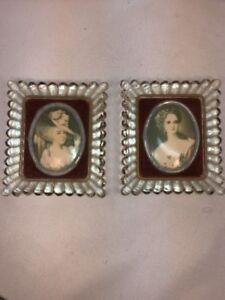 Vtg PAIR Glass Framed Victorian Women Picture Prints Red Velvet Matting Small