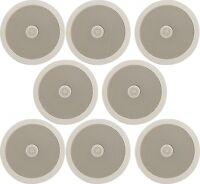 """8x White CEILING SPEAKERS 2-Way Hifi 100W 6.5"""" 952.534 Tweeter In Wall Speaker"""
