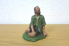 Alte Krippenfigur - Mann sitzend  - Gips - Original - signiert