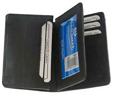 Black Mens Genuine Leather ID Bifold Credit Card Expandable Holder Center Flap
