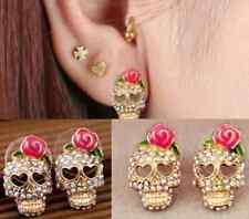 women Pink Rose Rhinestone Skeleton Skull Ear Studs Earrings 1 pair hs89