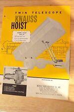 Vint. KNAUSS  C-2-37 Twin Telescope Hoist sales Brochure Johnson Hydraulic Mfg.