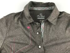 Pearl Izumi Women Small S Brown Gray Athletic Polo Shirt Top Snap Buttons L3