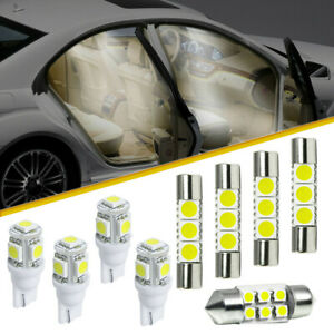 9Pcs Car Interior LED Lamp Package Kit For Map Reading License Plate Lights Bulb