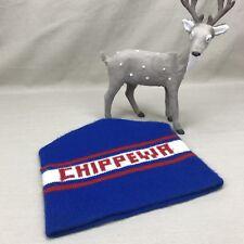 CHIPPEWA Winter Knit Hat Vintage 1970s Watch Cap Beanie Blue Red White Toque