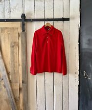 Vintage 70s Bright Red Fleece Long Sleeve Polo Shirt by David Honison size L
