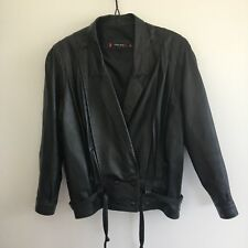 Atelier 15 Women's Genuine Leather Jacket Size 10 Black Sheepskin