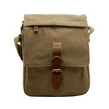 Troop London - Khaki Canvas Classic Messenger/Body Bag with Leather Trim