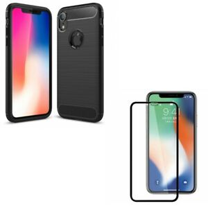 Slim Fit Carbon Fiber Case Matte Tempered Glass Screen Protector for iPHONE XR
