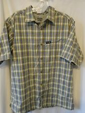 COLUMBIA GRT Sportswear MEN'S XL Yellow Blue CAMP SHIRT MINT Fishing Hiking