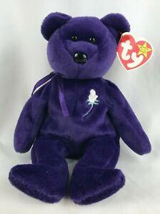 "1997 TY Beanie Babies ""Princess"" Diana Purple Bear Original PE Pellets Red Stamp"