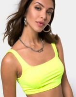 MOTEL ROCKS  Shani Crop Top in Neon Yellow Medium M   (mr95)