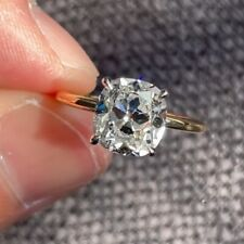 1.49Ct Old Mine Cushion Cut Moissanite Solitaire Proposal Ring 10K Yellow Gold