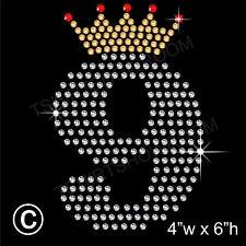 Ninth Birthday Rhinestone/Diamante Transfer Hotfix Ironon Motif with Free Gift